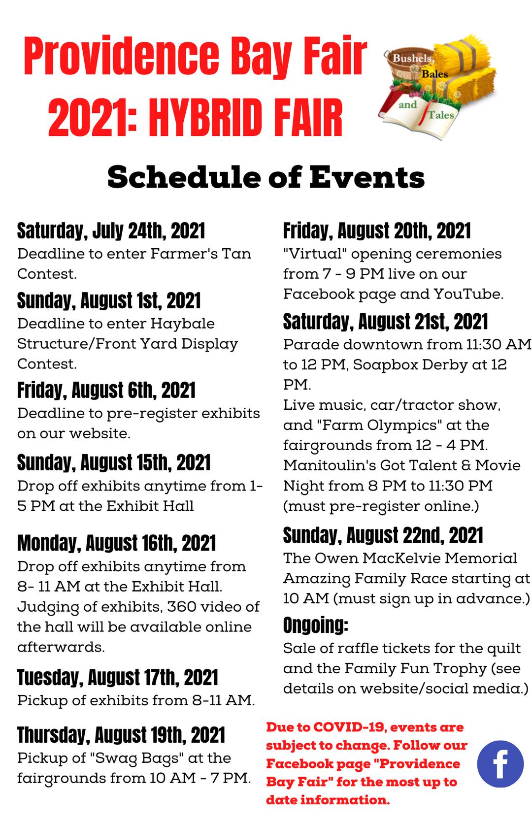 2021 Schedule of Events